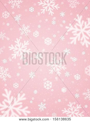 Pink background with white blurred snowflakes vector illustration