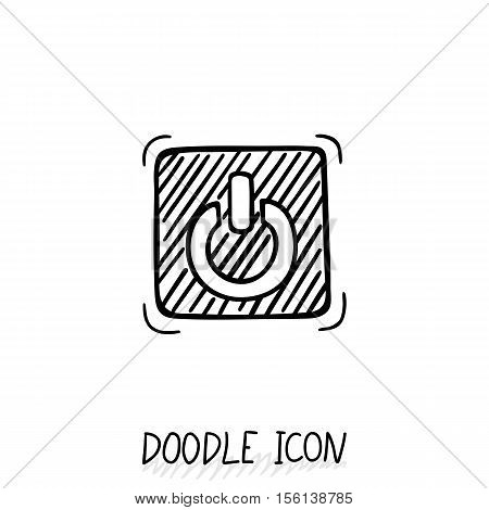 Doodle On Off switch button. Stop Close pictogram. Handdrawn icon.