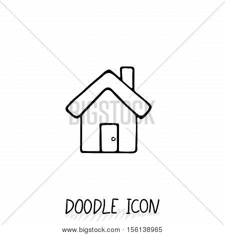 Doodle home icon in retro style. Architecture, construction, village, homepage.