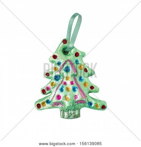Homemade Christmas tree for Christmas decoration made child of salt dough isolated on white background. Children's art project children's handicraft. DIY concept
