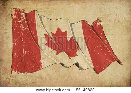 Canadian Grunge Flag Textured Background Wallpaper