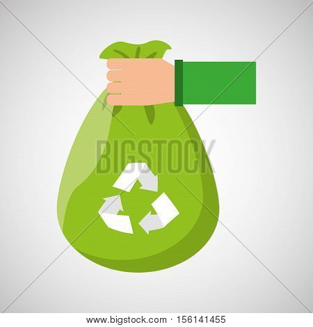 plastic bag recycled hand hold icon vector illustration eps 10