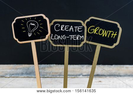 Concept Message Create Long-term Growth And Light Bulb As Symbol For Idea