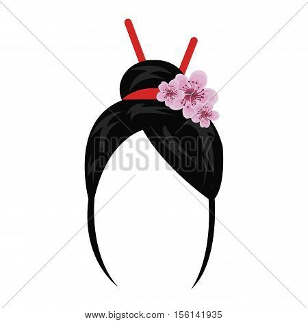 geisha wig hair style icon vector illustration design