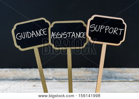 Concept Message Guidance, Assistance, Support Written With Chalk