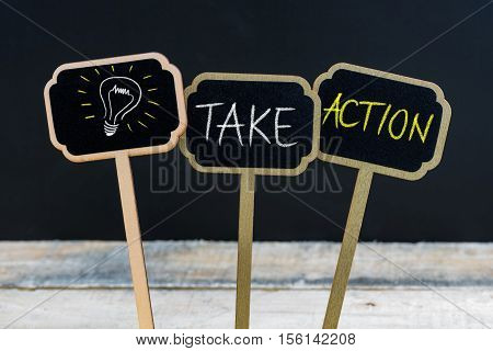 Concept Message Take Action And Light Bulb As Symbol For Idea
