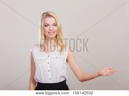 Woman Making Welcome Invitating Hand Sign Gesture.