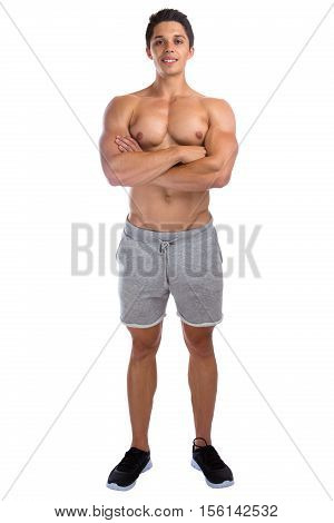 Bodybuilder Bodybuilding Muscles Standing Whole Body Portrait Muscular Young Man Isolated