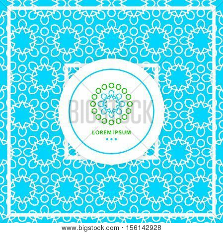 Bright blue seamless background. Circular seamless pattern. Stylized lace ornament. Simple geometric background Texture of restaurant Beautiful circular logos. Logo for boutique, interior Company logo
