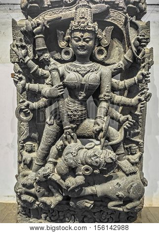 Indian Archaeological chlorite Durga goddess idol from twelfth century common era.
