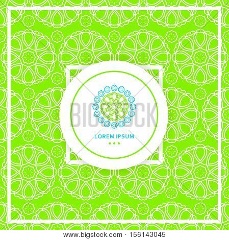 Bright green seamless background. Circular seamless pattern. Stylized lace ornament. Simple geometric background. Texture of restaurant. Beautiful circular logos. Logo for boutique. Company logo.