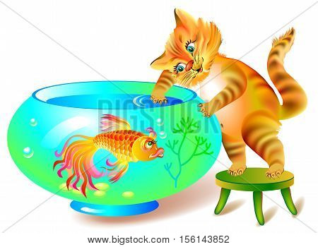 Illustration of sly cat who wants to catch the fish from aquarium, vector cartoon image.