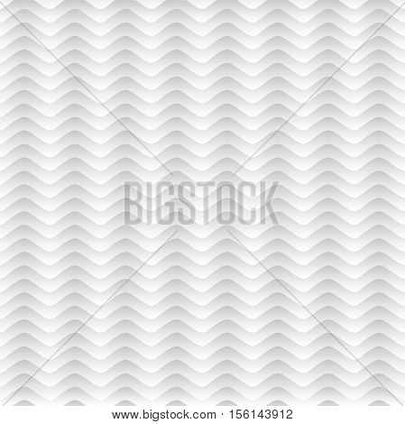 White seamless pattern. Volume line. White background. Wavy lines. Volume tecture. Gradient. Seamless white background. The pattern of sea waves. Seamless vector pattern. Curved stripes pattern.