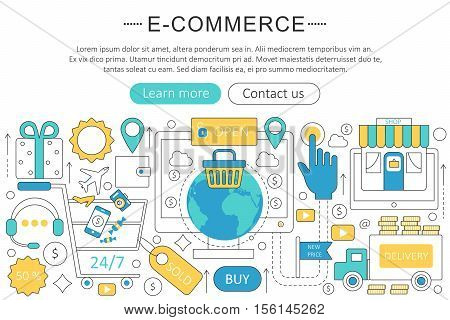 Vector elegant thin flat line E-commerce concept. Website header banner elements layout. Presentation, flyer and poster. Internet mobile online commerce concept