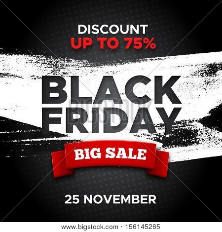 Black Friday promo vector background with red ribbon and white paint smear. Retail promotion banner design for discount offer or final clearance on holiday sales season.