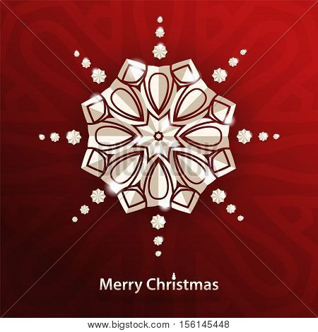 Celebratory bright background for Merry Christmas and New Year. Greeting card. Congratulations on a Merry Christmas. Volumetric white snowflake on a red background. White mandala. Christmas snowflake.