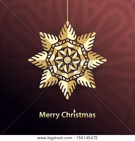 Celebratory bright background for Merry Christmas and New Year. Greeting card. Congratulations on a Holidays. Volumetric golden snowflake on a dark background. Christmas snowflake. Gold Star.