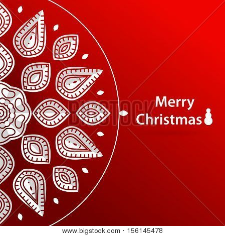 Celebratory bright background for Christmas and New Year. Greeting card. White Christmas decorations. Christmas snowflake. Volumetric white snowflake on a red background. White mandala. Holiday card.