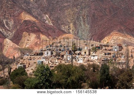 Cemetery in Humahuaca valley, Jujuy, northern Argentina, near the fourteen colors hill