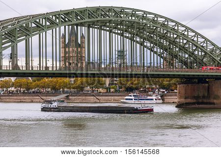 View of Koln cathedral and bridge, Germany