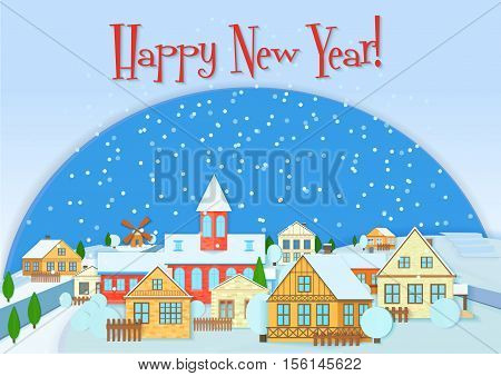 Merry Christmas vector card, cute little town in winter. Happy New Year snow village. Christmas urban and rural city landscape