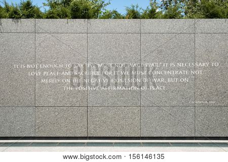 WASHINGTON D.C.,USA - AUGUST 14,2016 : Wall with speech against war at the Martin Luther King Jr. National Memorial in Washington D.C.