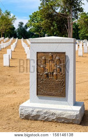 WASHINGTON D.C.,USA - AUGUST 15,2016 : Tombstone and Monument in memory of the crew of the United States Space Shuttle Challenger at Arlington National Cemetery