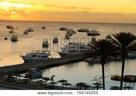 Boats At Hurghada, Egypt At Sunset