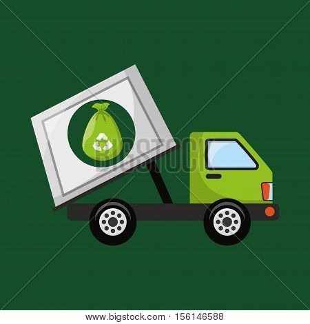 garbage truck recycle icon design vector illustration eps 10