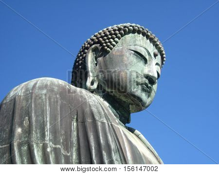 A bronze outdoor Buddhist Temple stature in Kamakura, Kanagawa, Prefecture, Japan
