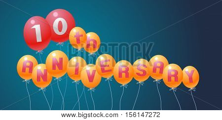 10 years anniversary vector illustration banner flyer logo icon symbol invitation. Graphic design element with air balloons for 10th anniversary birthday card celebration decoration