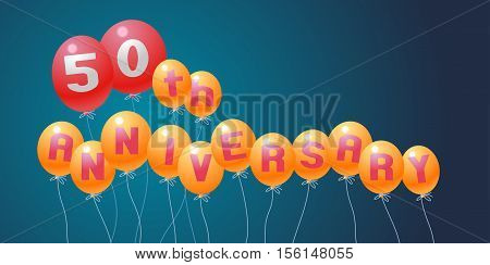 50 years anniversary vector illustration banner flyer logo icon symbol invitation. Graphic design element with air balloons for 50th anniversary birthday card celebration decoration
