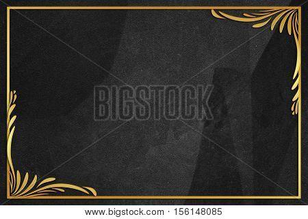 black wrinkled paper background with frame vintage style
