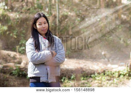 Portrait Asia woman , thai girl cute