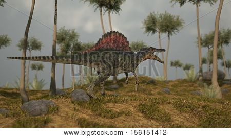 3d illustration of the walking spinosaurus