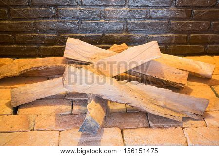 Cut wood ready for burning stock photo