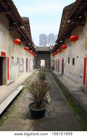 SHENZHEN, CHINA - MARCH 28, 2016: Crane Lake Walled Village on March 28, 2016 in Shenzhen, China. It is a landmark Hakka village of national significance in Guangdong.