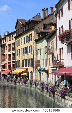 ANNECY, FRANCE- AUG 30, 2013: Annecy old town on Aug 30, 2013 in Annecy, France. It is one of the most visited cities at the foot of Mont Blanc.