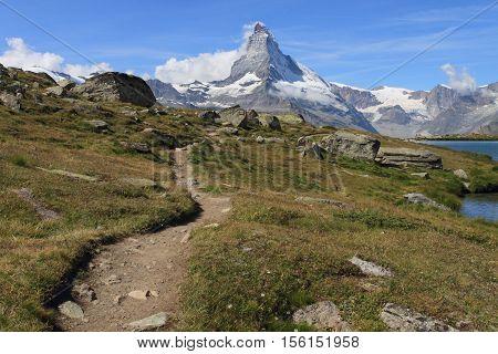 hiking trail to Matterhorn mountain of Switzerland