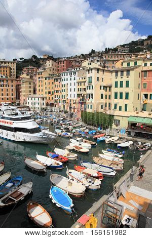CAMOGLI, ITALY - AUGUST 27, 2013: Fishing village of Camogli on August 27, 2013 in Camogli, Italy. It is one of the most popular resorts in Genova region and is highly crowded during summer.