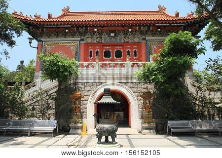 HONG KONG, CHINA - JULY 31, 2014: Po Lin Temple on July 31, 2014 in Hong Kong, China. Po Lin temple in Lantau Island is one of the most popular tourist attractions in Hong Kong.