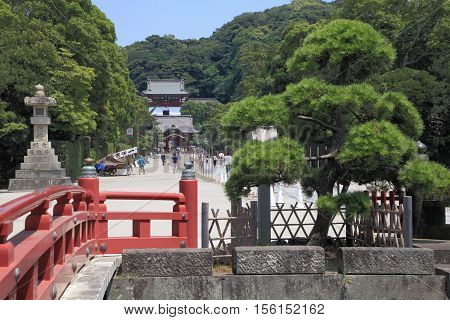 KAMAKURA, JAPAN - AUGUST 5, 2015: Historic temple and garden on August 5, 2015 in Kamakura, Japan. Kamakura is famous for its Japanese historic temples.