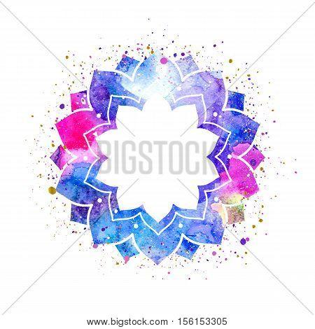 Geometric mandala flower frame. Watercolor texture and splash. Colorful blue purple pink colors. Cosmic space texture
