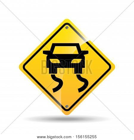 road sign slippery car icon vector illustration eps 10
