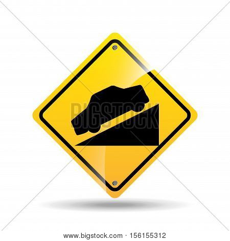 road sign steep decline icon vector illustration eps 10
