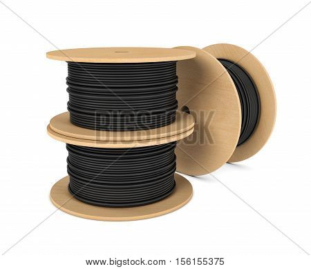 3d rendering of roll of black industrial underground cable on large wooden reel isolated on a white background. Four core al cable. Electrical cable. Professional construction site cable.