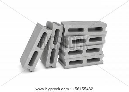 3d rendering of six cinder blocks isolated on the white background, four of the blocks are lying and another ones are leaning on them. Building materials. The construction industry. Renovation of premises.