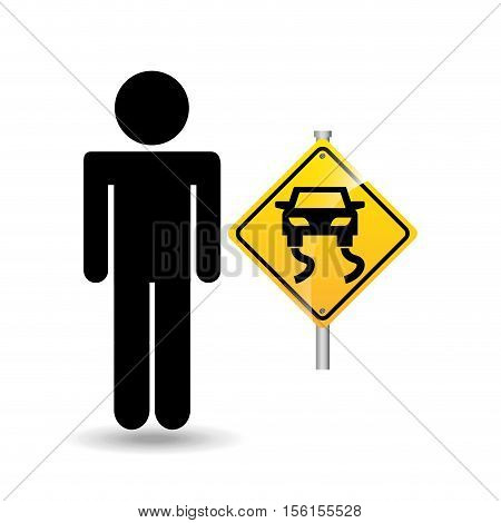 road sign slippery silhouette man vector illustration eps 10