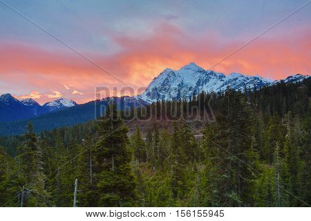 Sunrise over mountains on a warm fall morning
