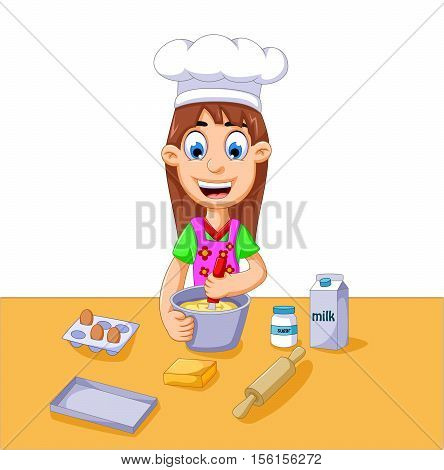 funny cartoon girl making cake for you design